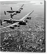 Two Lancasters Over London Black And White Version Acrylic Print