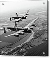 Two Lancasters Over The Upper Thames Black And White Version Acrylic Print