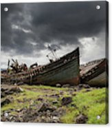 Two Large Boats Abandoned On The Shore Acrylic Print