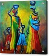 Two Little Girls Carrying Water Acrylic Print