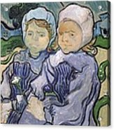 Two Little Girls Acrylic Print by Vincent Van Gogh