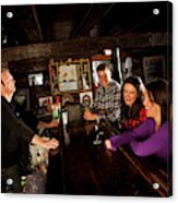 Two Men And Two Women Having Beer Acrylic Print