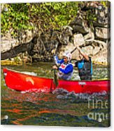 Two Men In A Tandem Canoe Acrylic Print