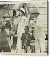 Two Men In Tropical Clothing And A Woman Drinking From Bowls Acrylic Print