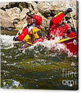 Two Men Paddling A Red Whitewater Canoe Acrylic Print