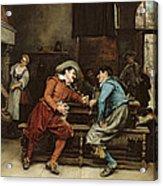 Two Men Talking In A Tavern Acrylic Print