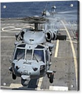 Two Mh-60s Sea Hawk Helicopters Take Acrylic Print by Stocktrek Images