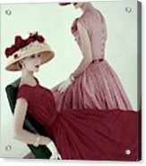 Two Models Wearing Red Dresses Acrylic Print