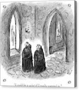 Two Monks Walk Through A Monastery Acrylic Print