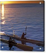 Two Paddlers In Sea Kayaks At Sunrise Acrylic Print