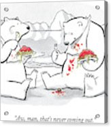 Two Polar Bears Eat Spaghetti And Meatballs.  One Acrylic Print