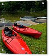 Two Red Kayaks Acrylic Print by Amy Cicconi