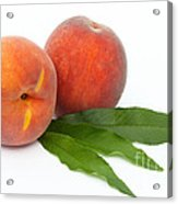 Two Ripe Peaches And Leaves Acrylic Print