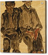 Two Seated Boys Acrylic Print by Egon Schiele