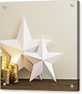 Two Stars With Golden Candles Acrylic Print