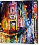 Two Streets - Palette Knife Oil Painting On Canvas By Leonid Afremov Acrylic Print