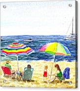 Two Umbrellas On The Beach California  Acrylic Print