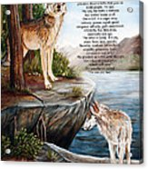 Two Wolves- Poster Acrylic Print by Dorothy Riley
