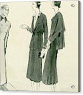 Two Women Wearing A Chanel Jersey Suit Acrylic Print