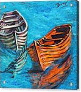 Two Wood Boats Acrylic Print by Xueling Zou