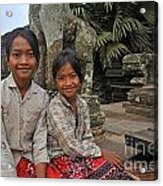 Two Young Cambodian Girls In Angkor Wat Acrylic Print by Sami Sarkis
