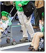 Two Young Girls Marching In The 2009 New York St. Patrick Day Parade Acrylic Print