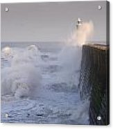 Tynemouth North Pier And Waves Acrylic Print