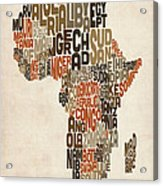Typography Text Map Of Africa Acrylic Print
