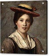 Tyrolean Dirndl With Straw Hat Acrylic Print