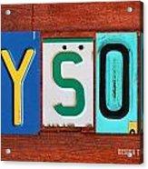 Tyson License Plate Name Sign Fun Kid Room Decor Acrylic Print