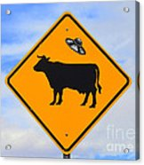 Ufo Cattle Crossing Sign In New Mexico Acrylic Print