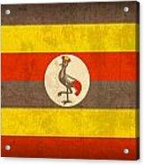 Uganda Flag Vintage Distressed Finish Acrylic Print