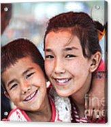 Uighur Children At Kashgar Market Xinjiang China Acrylic Print