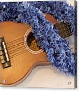 Ukulele And Blue Ribbon Lei Acrylic Print