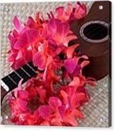 Ukulele And Red Lei Acrylic Print