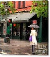 The Purple Bag - New York City In The Rain Acrylic Print