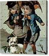 Umbrella In The Snow, Victorian Postcard Acrylic Print