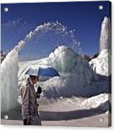 Umbrella Man At Frozen Fountain Acrylic Print
