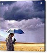 Umbrella Man In Kansas Wheat Field Acrylic Print