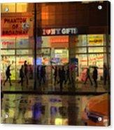 Umbrella Parade - New York In The Rain Acrylic Print