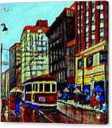 Umbrellas In The Rain Couples Stroll St.catherine Street Downtown Montreal Vintage  City Scene  Acrylic Print