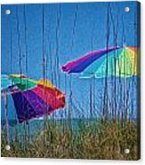 Umbrellas On Sanibel Island Beach Acrylic Print