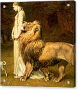Una And Lion From Spensers Faerie Queene Acrylic Print by Briton Riviere