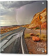 Uncertainty - Lightning Striking During A Storm In The Valley Of Fire State Park In Nevada. Acrylic Print