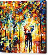 Under One Umbrella - Palette Knife Figures Oil Painting On Canvas By Leonid Afremov Acrylic Print