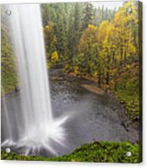 Under The Falls With Autumn Colors In Oregon Acrylic Print