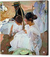 Under The Parasol Acrylic Print by Joaquin Sorolla y Bastida