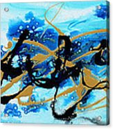 Under The Sea Original Abstract Blue Gold Painting By Madart Acrylic Print