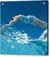 Underwater View Of Woman Diving Into Acrylic Print