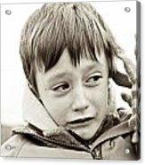 Unhappy Boy Acrylic Print by Tom Gowanlock